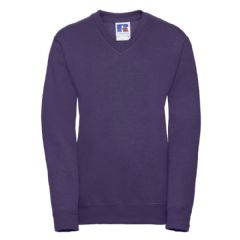 NEWTON PARK PRIMARY SCHOOL PURPLE V-NECK SWEATSHIRT WITH LOGO